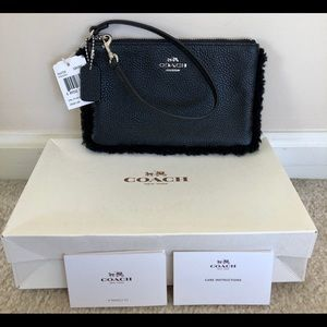 Coach Black Pebble Leather Wristlet w/ Fur Trim